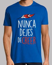 Atleti (Camiseta Delante y Detrás) Nunca Dejes De Creer (Hombre) Fondo Azul