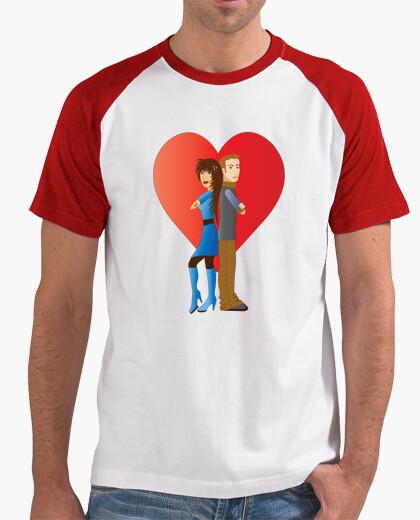 Atlética Camiseta blanca y roja para hombres Pareja de jóvenes enamorados