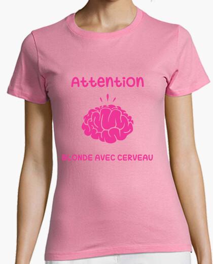 T-shirt attenzione bionda con il cervello