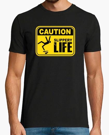 T-shirt attenzione! maglietta scivolosa della vita di segno