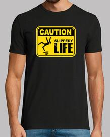 attenzione! maglietta scivolosa della vita di segno