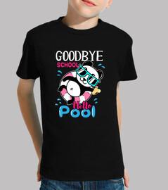 au revoir école bonjour piscine t-shirt panda mignon sur float
