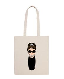 Audrey kokeshi fabric bag with glasses