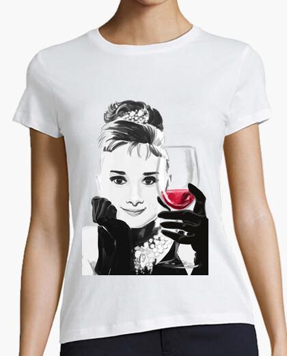 Camiseta Audrey Loves Red Wine - chica M/C