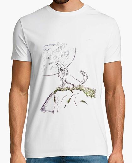 Camiseta aullando a la luna