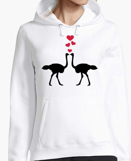 Jersey avestruz pareja corazones rojos
