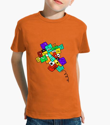 Vêtements enfant avion fou, version noire. garçon, manche courte, orange