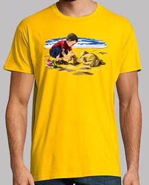 Aylan Kurdi jouant sur la plage (hommage à l'enfant syrienne)