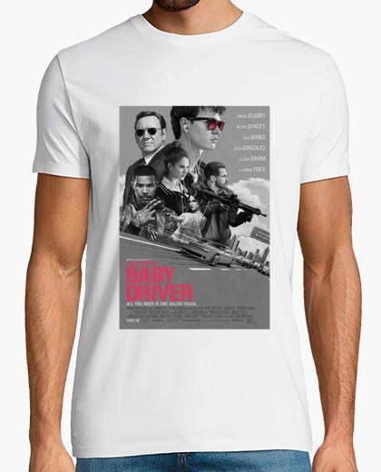 Camiseta Baby Driver -  Hombre, manga corta, blanco, calidad extra