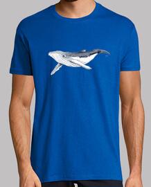 baby humpback whale - man, manga short, royal blue, extra quality