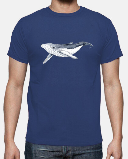 baby humpback whale - man, short sleeve, royal blue, extra quality