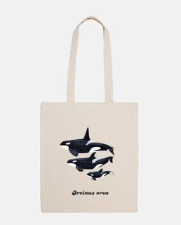 bag canvas orca trio (orcinus orca)