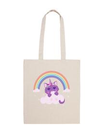 bag fabric 100% cotton cat rainbow