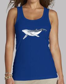 baleine à bosse  t-shirt  de bébé - femme, sans manches, bleu royal