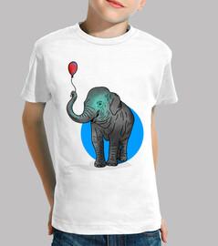 ballon éléphant - enfant, manches courtes, blanc
