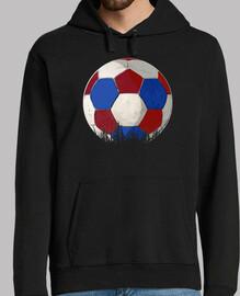 ballon rouge football bleu et blanc