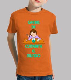 bambino mangia il mondo, manica corta, arancione