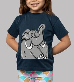 bambino, manica corta, navy / elefante