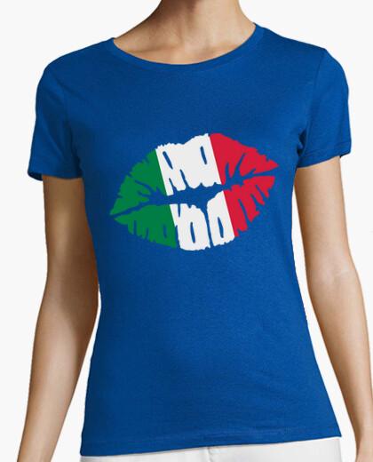 Camiseta bandera beso italia