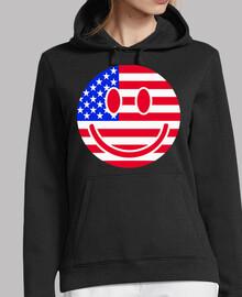 bandera de Estados Unidos sonriente