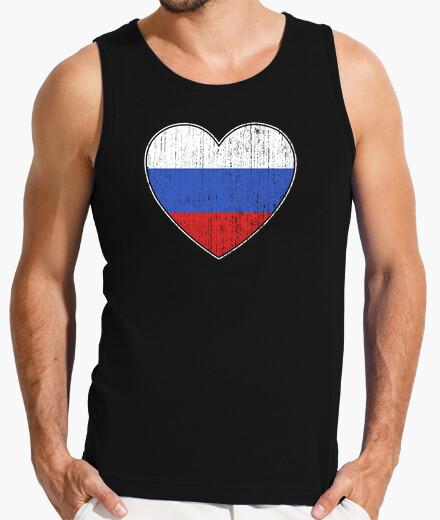 Camiseta bandera de rusia amor corazón