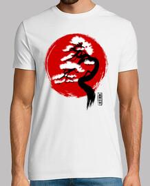 Bandera japonesa con bonsái
