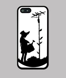 Banksy chica regando antena (en negro)