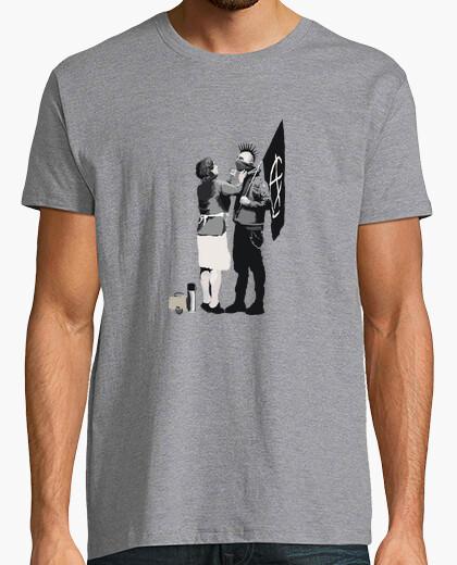 Camiseta Banksy Punk Hombre, gris