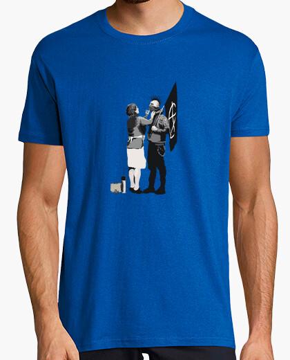 Camiseta Banksy Punk Hombre manga corta azul