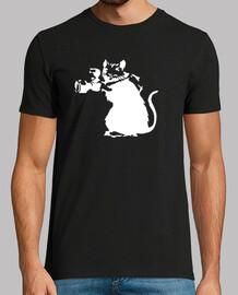 Banksy rata fotografa (estampado en blanco en ambas caras)