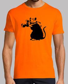 Banksy rata fotografa (estampado en negro en ambas caras)
