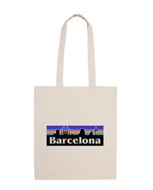 barcellona city retro, sagrada familia - borsa in tela cotone 100
