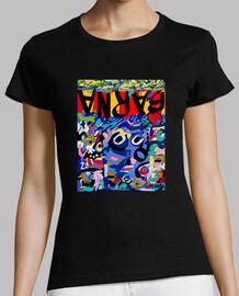 barcelona camiseta mujer, negro, mejor calidad