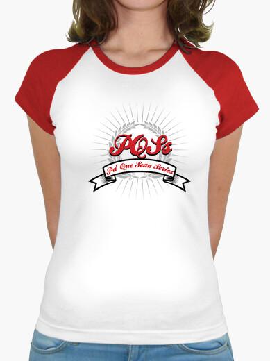 Camiseta baseball pqss chica rojo