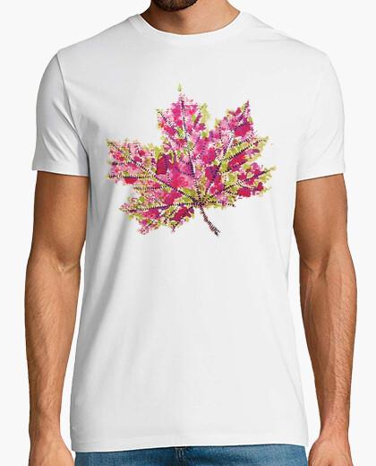 Camiseta bastante colorida acuarela otoño hoja