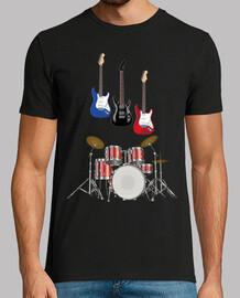 batteria musicale con chitarre