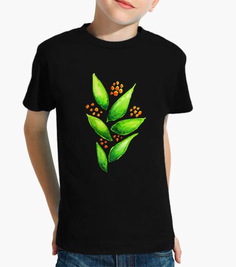 Ropa infantil bayas naranjas acuarela planta verde