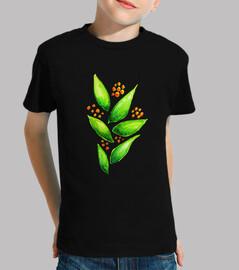bayas naranjas acuarela planta verde