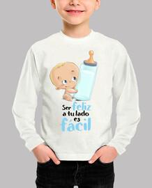 Bebe con biberon niño ser Feliz - camiseta niño