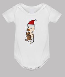 Bebé con osito y gorrito de papá noel
