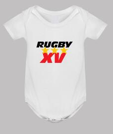 bebé de rugby mono, blanco