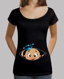 bébé peekaboo poking chemise noire à col large et coupe ample,