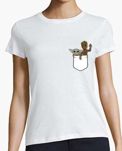Tee-shirt bébé yoda groot femme
