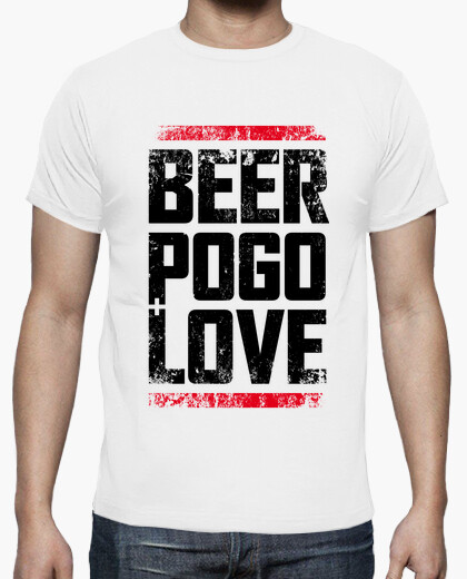 Camiseta beer, pogo & love white dirt
