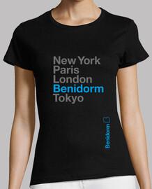 Benidorm, Mujer, manga corta, negra, calidad premium