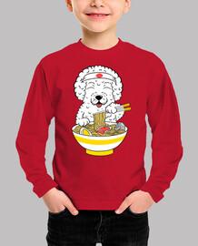 Bichon Frize dog eating ramen