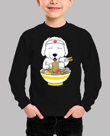 big pyrenean dog eating ramen