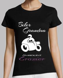 Biker Grandma White Abuela Motera en bl