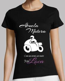 biker grandmother on white
