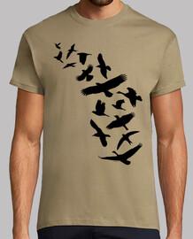 birds flying - black